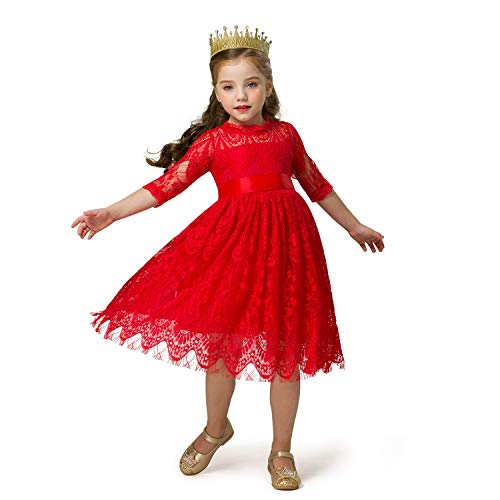 TTYAOVO Little Girls Chiffon Knit Hollow Casual Dress Size (120) 4-5 Years Red
