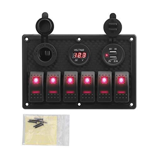 FangFang Voltímetro Digital Impermeable Doble USB Puerto USB 12V Combinación de Salida de automóvil Marinos LED LED Interruptor de Interruptor (Color : B Red)