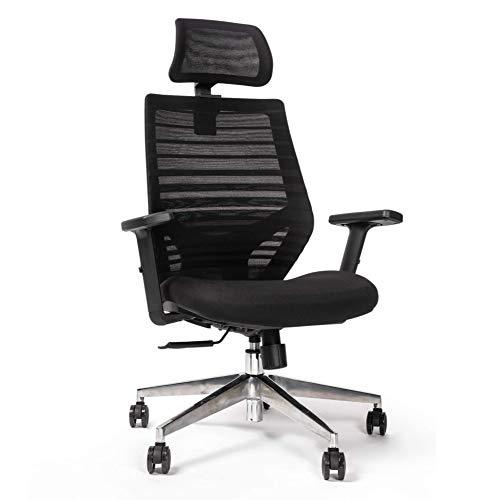 RIGHT TECHNOLOGY Ergo PRO Schreibtischstuhl, Drehstuhl hat Verstellbarer Lordosenstütze, Kopfstütze und Armlehne, Höhenverstellung und Wippfunktion, Rückenschonend, Bürostuhl bis 150kg/330LB