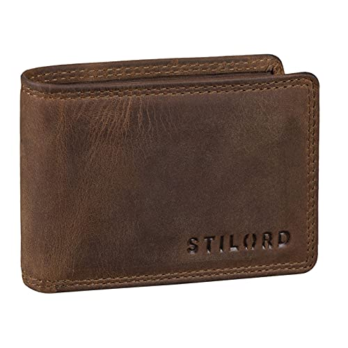 STILORD  Jay  Monedero Hombre Pequeño RFID en Cuero Genuino Cartera Mini NFC Bloqueo Clásicas Portamonedas Billetera Portatarjetas de Piel Auténtica,  Color:marrón -  Medio