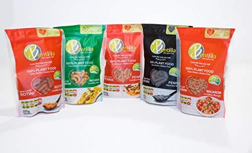 Bentilia Organic Gluten Free Pasta Variety Pack (Red Lentil Rotini, Green Lentil Marconi, Red Lentil Penne, Black Bean Penne, Red Lentil Marconi)- Pack of 5, 8oz Each