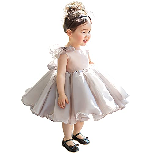 Vestido de Manga de la Princesa Gris, la Falda del tutú de la niña Elegante Lindo cumpleaños celebración Vestido de un año,Gris,4XL