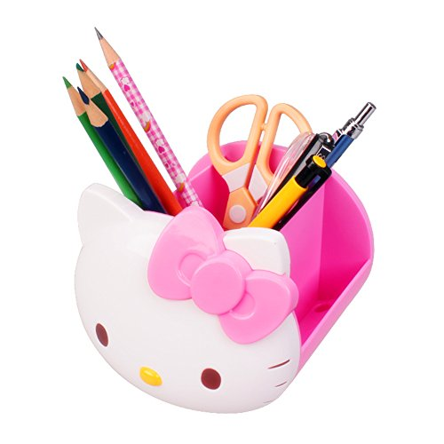 TOSPANIA Desk Supplies Organizer Multi-Functional Durable Container Hello Kitty Style Holder for Office Accessories Pencils Colored Pens Glasses Nail Polish etc. (Pink)