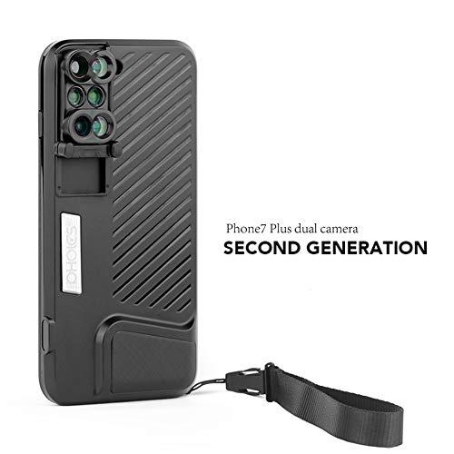 COCO110 Mobiele telefoon telelens voor iPhone7Plus 8P gewijd dual camera groothoek fisheye teleto macro mobiele telefoon externe lens, zwart