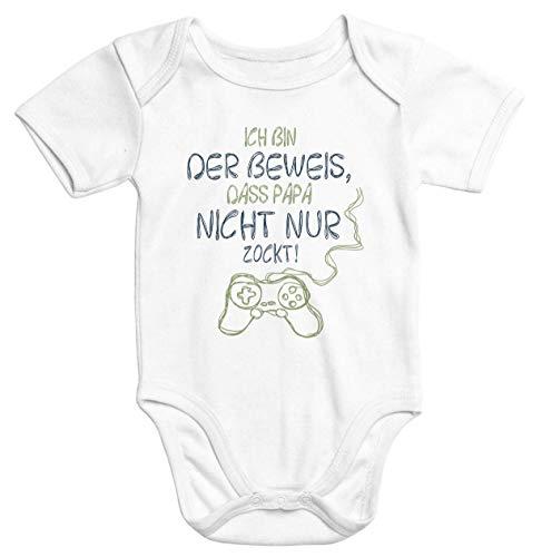 MoonWorks® Kurzarm Baby Body Ich Bin der Beweis DASS Papa Nicht nur zockt Gamer Zocker Nerd Spruch lustig neutral weiß 3-6 Monate