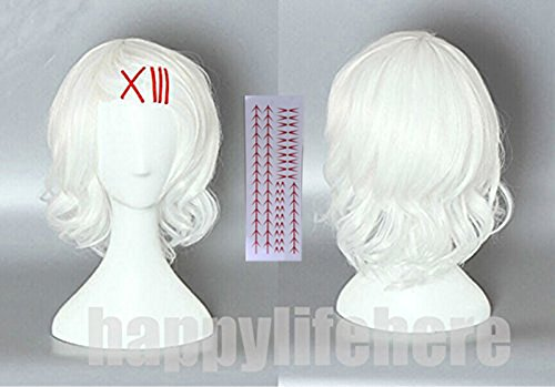 Happylifehere Japanese Anime Curly White Short Cosplay Costume Wig + Free Red Clips + Free Tattoo + Free Wig Cap