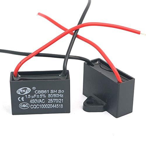 DollaTek 2Pcs CBB61 1.5uF 450V AC 50/60Hz Condensador Corriente del Motor de Ventilador del acondicionador de Aire