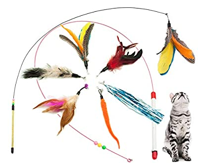 Fashion's Talk Feather Wire Wands Kitten Toys Worm Teaser Wand Cat Toy with Replacement Pack