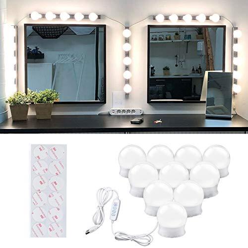DoRight Bombillas de espejo de vanidad con interruptor, funciona con USB, 3 modos de tira de luz de espejo de color y 10 brillo con cintas 3M
