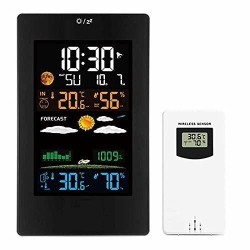 Estación Meteorológica Inalámbrica con Sensor Exterior Interior, Termómetro Despertador de Digital para Interiores Exteriores Pantalla LCD Color Monitor de Temperatura y Humedad