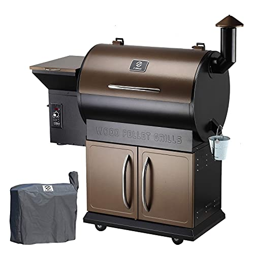 Z GRILLS 700D 2020 Upgrade Wood Pellet Grill & Smoker, 8 in 1 BBQ Grill Auto Temperature Control, inch Cooking Area, 700 sq in Bronze(Cover Included)