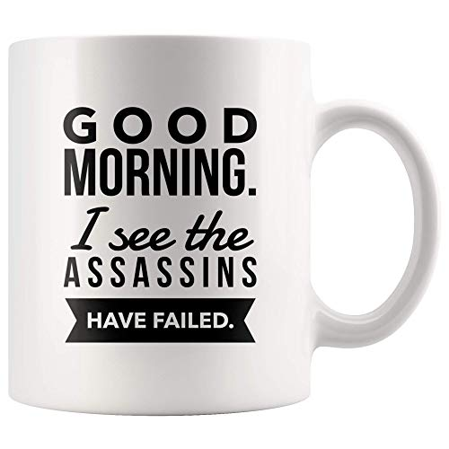 Goedemorgen zie ik de moordenaars hebben gefaald keramische mok witte koffie theekop Gag Gift