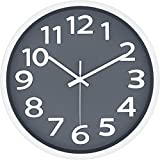 12 Inch Modern Wall Clock Silent Non-Ticking Battery Operated 3D Numbers Bright Color Dial Face Wall Clock for Home/Office Decor,Gray