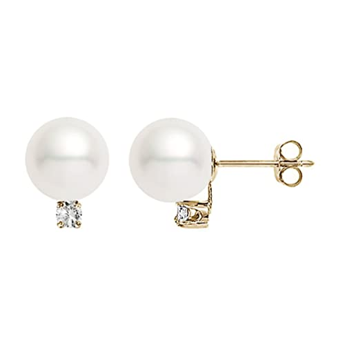 f76b5fa16 14k Yellow Gold AAAA Quality Japanese Akoya Cultured Pearl Diamond Stud  Earrings