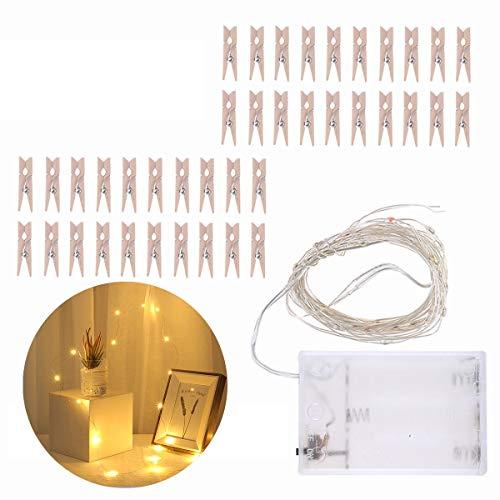 FAMKIT Cadena de luces LED con clip de fotos, 4 m, 40 luces LED con 40 clips de madera para exhibición de fotos en casa, fiesta, boda (luz blanca cálida)