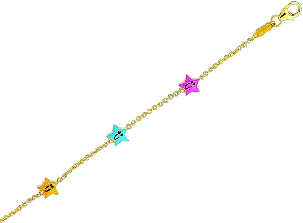 Finejewelers 14k Yellow Gold Cable Link Chain 3 Station Happy Face Star Adjustable 5.5 inch Bracelet