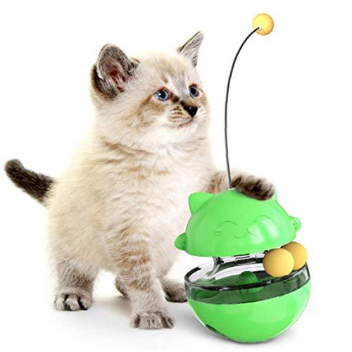 Formación 1pc Tumbler Gato Juguete Divertido Animal doméstico del Gato Herramienta de mascar Alimentación Reproducción Fuga de Bola del alimento con burlas Mascotas de Juguete Varita