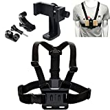 Miouldram Cell Phone Chest Mount Harness Strap Holder Cell Phone Clip Action Camera Adjustable Straps