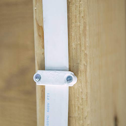Gardner Bender PS-150Z Plastic Staple, ½ Inch., Secures Romex, UF & (NM) Non-Metalic Cable, Polyethylene - UV Resistant, Splinter Free, Application: 14/2, 12/2, 10/2 (NM) Non-Metalic Cable, 100 Pk., White