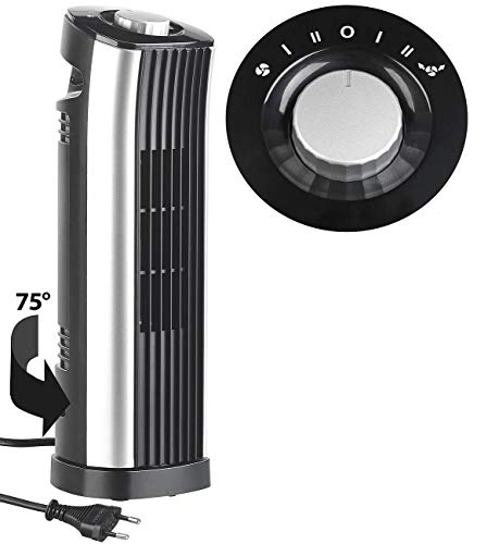 Sichler Haushaltsgeräte Tisch-Turmventilator: Tisch-Säulenventilator mit 75°-Oszillation, 2 Stufen, 24 Watt (Ventilator ohne Rotorblätter)