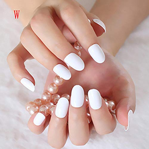 Wangguifu Nouveau 24 Pcs Brillant Faux Ongles Pur Blanc Acrylique Ongles Conseils Ovale Top Manucure Ongles Art Salon Produits