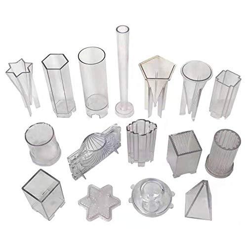 Kunststoff-Kerzenformen für die Kerzenherstellung, 16 Stück DIY Kerzenherstellung liefert Pyramide, Zylinder, Kugel, Säule, Schale, Quadrat, Kegel, Kegel Mold - ideal für DIY hausgemachte Kerzen