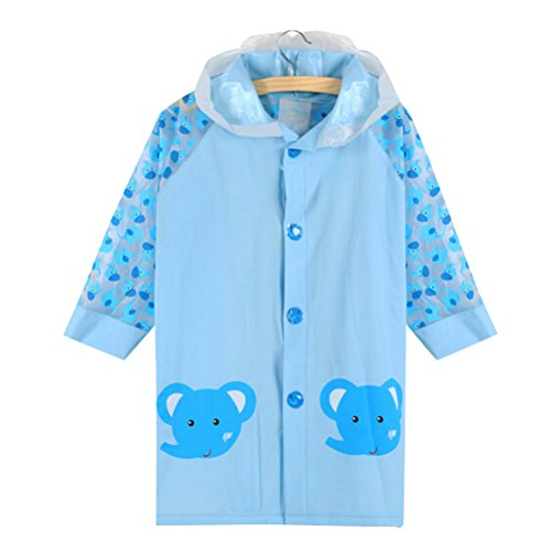 Blue Elephant Cute Baby Rain Jacket Enfant imperméable Toddler pluie Wear M