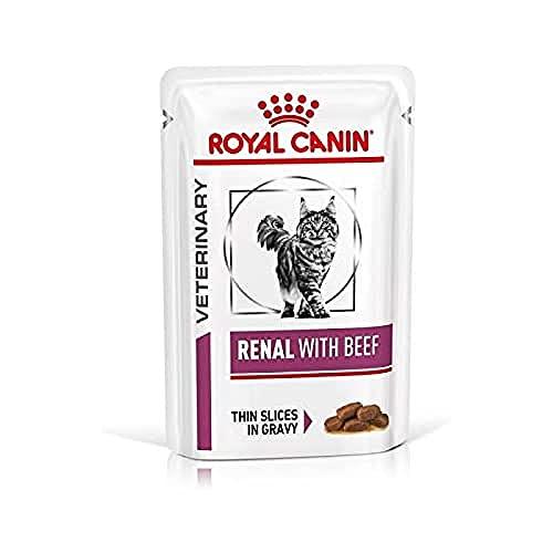 ROYAL CANIN Renal Busta Gatto Manzo Alimenti Gatto Umido Diete, set da 12 pezzi