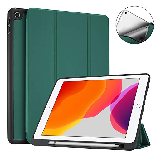 ProCase New iPad 7th Generation Case 10.2' 2019 with Pencil Holder, Flexible Soft TPU Back Cover Ultra Slim Lightweight Stand Protective Case for 2019 Apple iPad 10.2 inch 7th Gen -Green