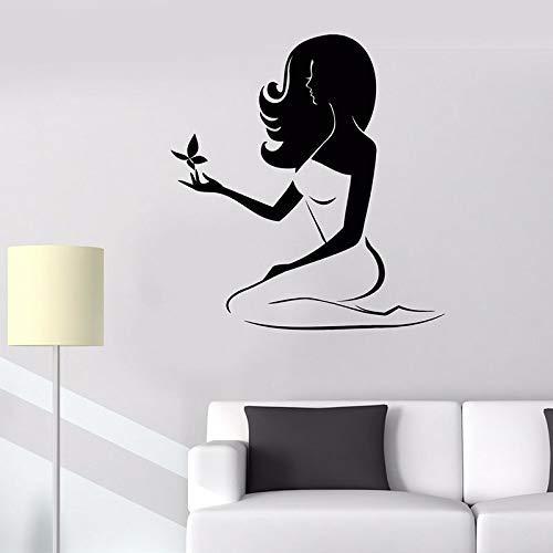 WERWN Hermosa Mujer calcomanía de Pared SPA salón de Belleza Centro de masajes decoración de Interiores Mariposa Vinilo Etiqueta de la Ventana Mural