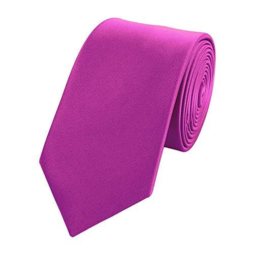 Fabio Farini Elegante corbata fina para hombre de un solo color de 6cm de ancho en muchos colores Fucsia Violeta. 6 cm