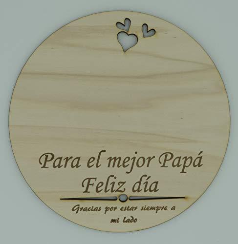 Recuerdo Madera Huella o Dibujo Bebé Día del Padre. Regalo para Papá Primerizo. Recuerdo papá para Colgar en Madera circular con 19cm de diámetro.