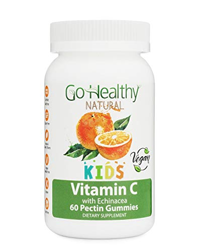 Go Healthy Natural Vitamin C Gummies with Echinacea for Kids, Vegan, OU Kosher, Halal (60) - 100 mg Servings
