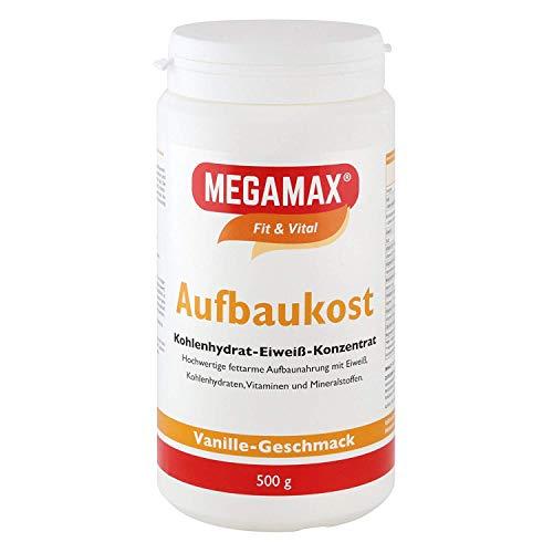 MEGAMAX Aufbaukost Vanille 500g- Trinknahrung Ideal zur Kräftigung u. bei Untergewicht. Proteinpulver zur Zubereitung eines fettarmen Kohlenhydrat-Eiweiß-Getränkes für Muskelmasse