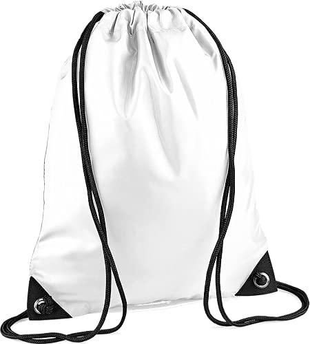 CLOTHING Sacca Zaino Sportivo Impermeabile Borsa Zainetto Nylon con Angoli rinforzati per Scuola Palestra Piscina Sport e Tempo Libero Bambino Adulto (Bianco Neutro)