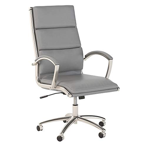 Office by kathy ireland Echo High Back Leather Executive Chair in Light Gray chair gaming gray