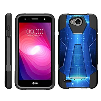 TurtleArmor | Compatible with LG X Power 2 Case | LG Fiesta 2 Case | LG X Charge Case [Dynamic Shell] Dual Protection Hybrid Case Impact Cover Hard Kickstand - Blue Technology
