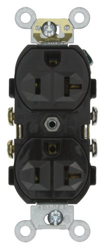 Leviton CR20-E 20-Amp, 125-Volt, Narrow Body Duplex Receptacle, Straight Blade, Commercial Grade, Self Grounding, Black