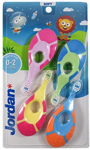 Jordan | Step 1 Cepillo de dientes para bebé 0-2 años | El cepillo de dientes original para bebé con cerdas extra suaves, anillo de mordida suave para encías y fácil agarre | Pack 4 Unidades