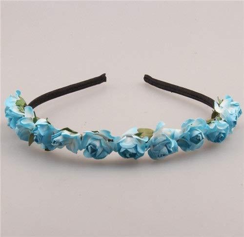 SSB-TOUDAI, Mignon Rose Fleur Couronne Festival Bandeau for Les Femmes Chapeaux De Mariage Guirlande Floral Hairband Accessoires (Color : White Blue)