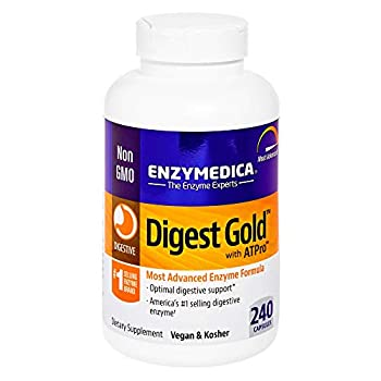Enzymedica Digest Gold + ATPro Maximum Strength Enzymes for Digestive Health Breaks Down Carbs Fats Fiber and Protein with Protease Amylase Lipase and Cellulase Vegan 240 Capsules  FFP