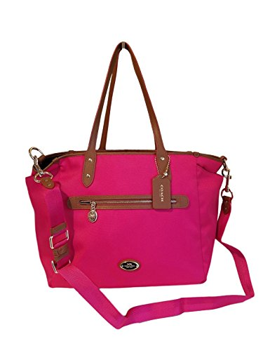 COACH Sawyer Baby Diaper Bag Multifunction Tote in Saddle Tan / Pink Ruby 37758