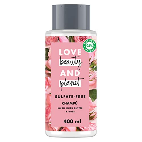 Love Beauty and Planet Champú para Cabello teñido, Manteca de Murumuru y Rosa Vegano - Pack de 3 x 400 ml (Total: 1200 ml)