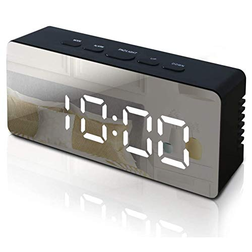 Seqmiro Digitaler Wecker, LED Digital Wecker Spiegel Tischuhr mit Temperatur Anzeige, Digitaluhr Digitalwecker Reisewecker Uhr USB Aufladen, 12/24 Stunden/Snooze/Datum/Einstellbare Helligkeit, Schwarz