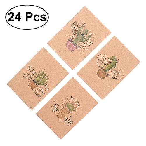 NUOLUX Mini cuaderno bloc infantil – cuaderno marrón blanco Dentro Notebook (serie de Cactus)