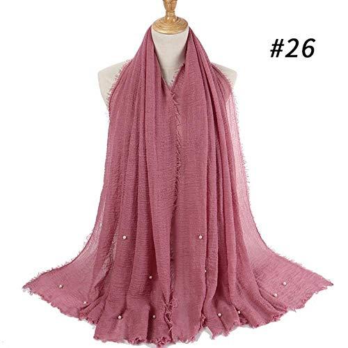 FEICHAIQAZ Diadema Hijab Bufanda Color sólido Señoras Algodón Arrugas Liso Arrugas Bufanda Burbuja Mujeres Chal Arrugado, 26,95cmMultiplicar180cm