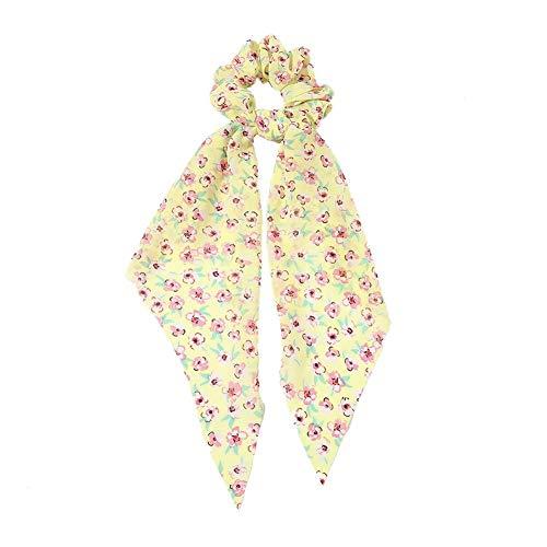 1 chouchou élastique pour cheveux - En mousseline de soie - Pour femme et fille, jaune, 9 cm