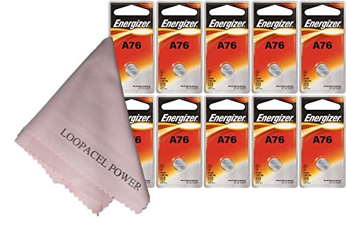 10 Energizer A76 LR44 1.55V Button Cell Alkaline Batteries (Individually Packaged Each with Retail Hanging Tab)
