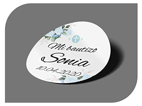 CrisPhy Pegatinas Personalizadas Comunion o Bautizo con Nombre y Fecha, Etiquetas Adhesivas para Invitacion Boda, Compromiso, Cumpleaños, Fiesta, Vintage, Sellos (Modelo 6)
