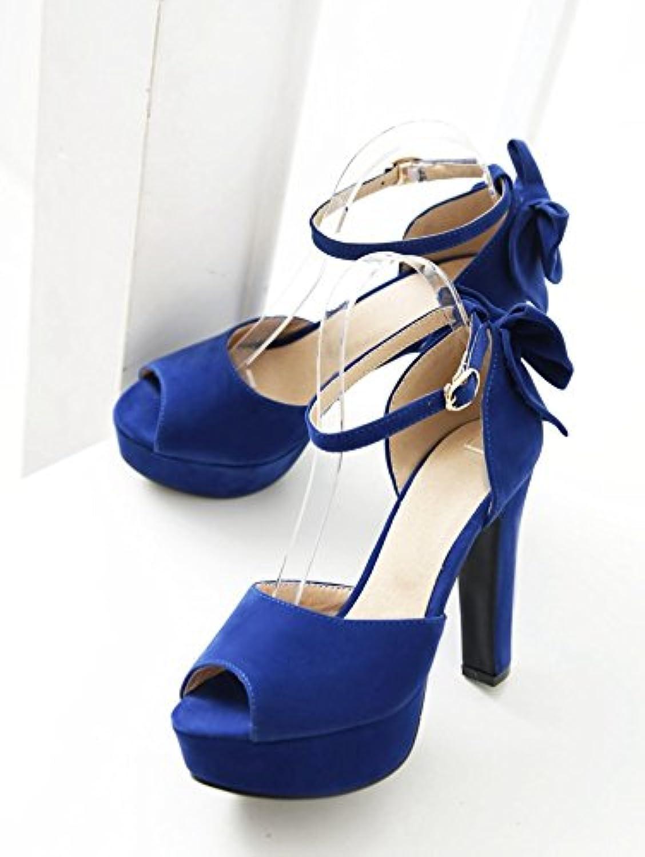 WHW Women's beach Comfort PU Dress Casual Flat Heel high heel Sandals,bluee,46